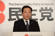 再選後記者会見に臨む野田新代表