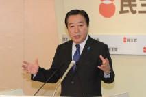 あいさつに立つ野田代表(総理)