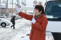 新潟市内で街頭演説する岡崎トミ子座長