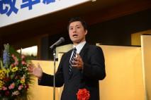 長崎県連パーティーであいさつする細野幹事長