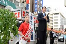 福島の復興の為に金子候補を当選させてほしいと海江田代…