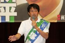 個人演説会で支援を訴える大塚公平党公認候補