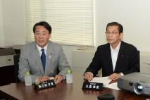 豪雨災害対策本部であいさつする海江田代表