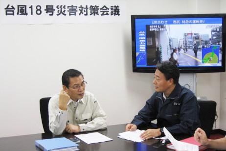 台風18号の対策を協議する海江田代表と大畠幹事長