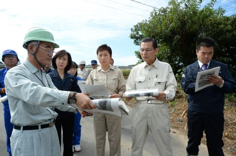 党災害対策本部、滋賀県の台風18号被害現場視察 現地…