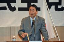 広島県連大会で講演する海江田代表