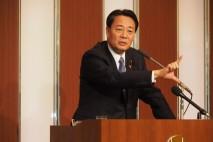 八戸市内の党員・サポーター集会で海江田代表
