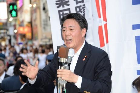 終戦の日街頭演説 海江田代表、安倍内閣の集団的自衛権…