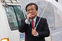 手稲駅前で演説する鉢呂総支部長