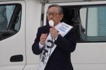 帯広市内で演説する三津丈夫候補