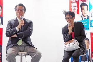 小幡社長とのやりとりに笑顔を見せる岡田代表