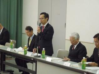 県・協中央会との意見交換会であいさつする古川元久調査会長